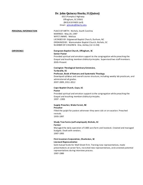 revised 2013 church resume