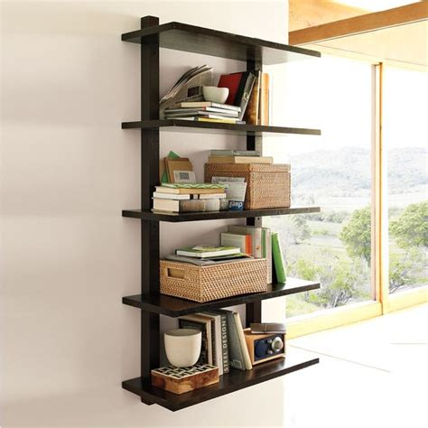 Modern Wall Mounted Shelves | wall mounted bookcase tall modern display and wall