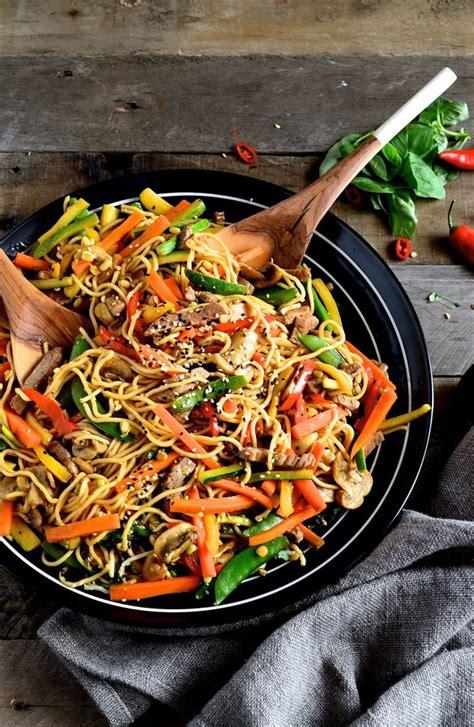 korean beef stir fry  egg noodles bibbys kitchen