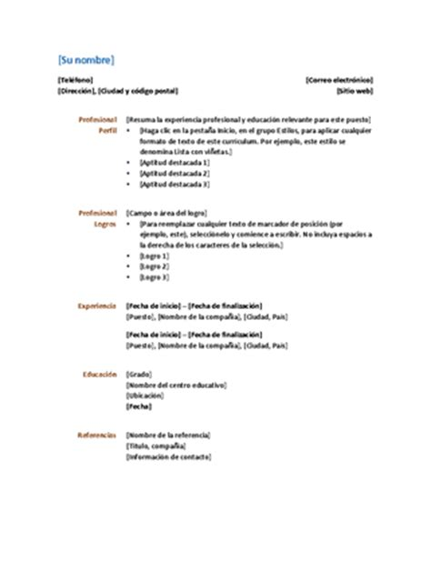 Plantilla De Curriculum Tradicional Curr 237 Culum Dise 241 O Funcional Office Templates