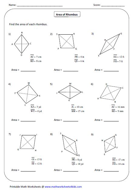 numbers printable area number names worksheets 187 square and rhombus free