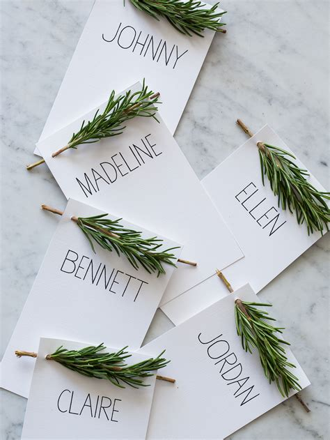 diy place cards rosemary sprig place cards diy place cards spoon fork
