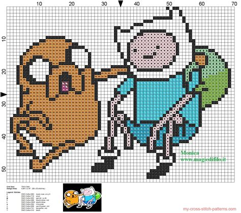 html pattern for time jake and finn 2 adventure time cross stitch pattern