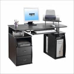 black computer desk and workstation