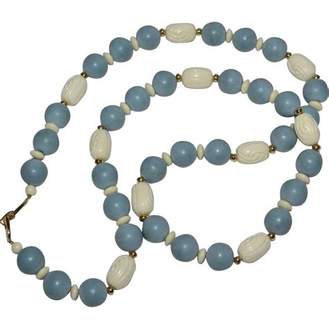 white bead necklace blue carved white bead necklace from