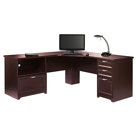 Realspace Magellan Performance Collection L Desk Cherry By Corner Computer Desk Office Depot