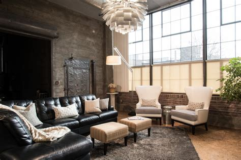 modern city condo industrial living room st louis by tamsin design group
