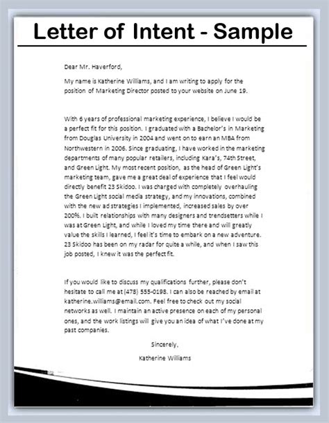 cover letter letter of intent letter of intent sle writing professional letters