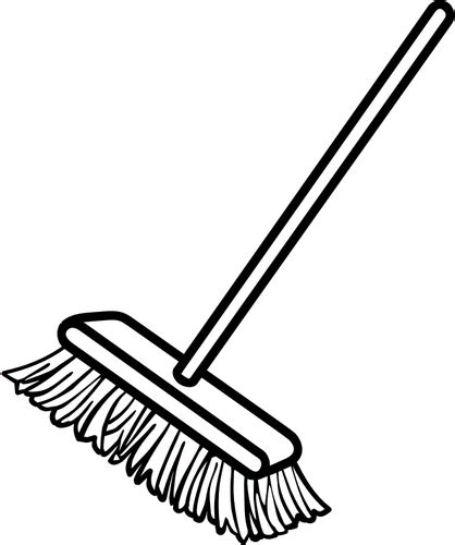 simple clean black and white vector clip of simple broom domain vectors