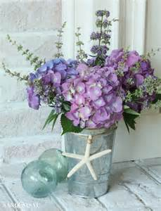 White Flowers In Vase Hydrangea Arrangement Ideas Sand And Sisal