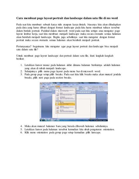 cara membuat halaman pada word landscape cara membuat nomor halaman berbeda pada word