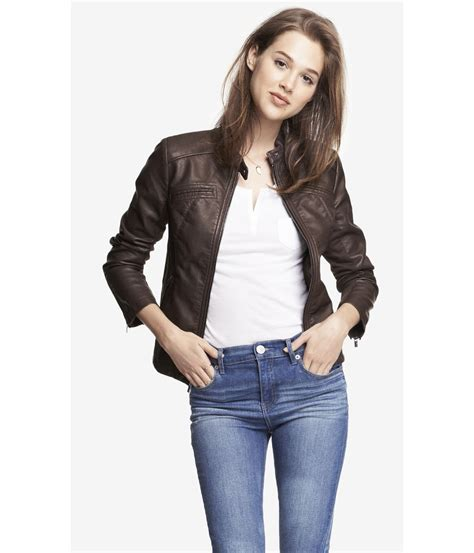 Expres Jacket Brown lyst express minus the leather jacket in brown