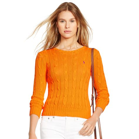 orange cable knit sweater polo ralph cable knit cotton sweater in orange