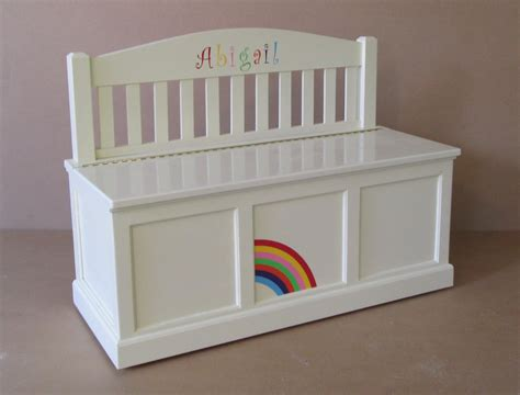 bench toy boxes wooden toy chest bench antique white rainbow