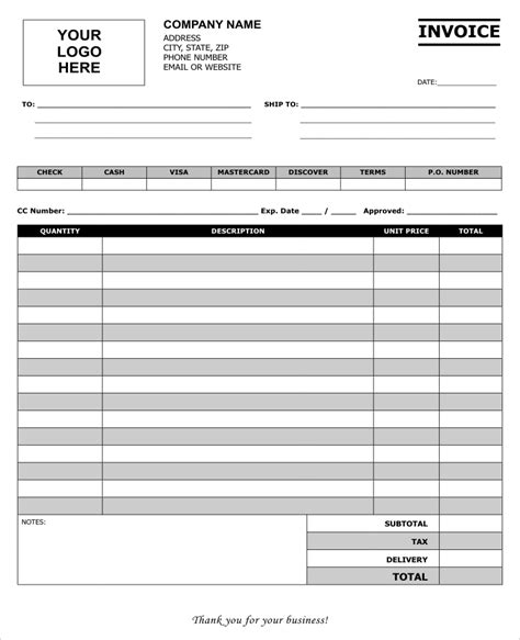 create invoice forms for your business using our templates