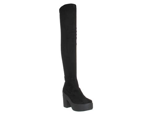 womens office stretch thigh high boots black boots