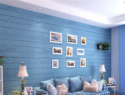 blue wallpaper room light blue wallpaper living room decorated in a mediterranean style 3d house