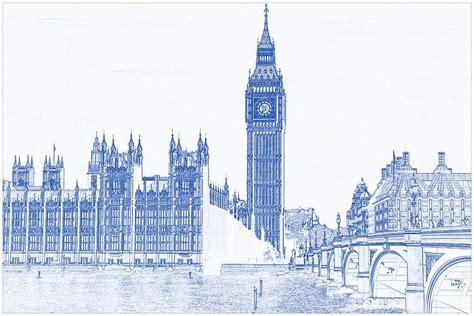 Lukisan Modern Big Ben blueprint drawing of modern building 8 big ben tower painting by celestial images