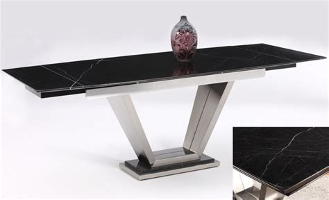 Pop Up Dining Table Jessy Solid Marble Pedestal Dining Table With Two Pop Up Extensions Contemporary Dining