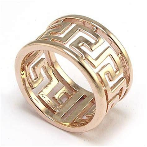 anzor jewelry men's 14k rose gold band greek key ring.