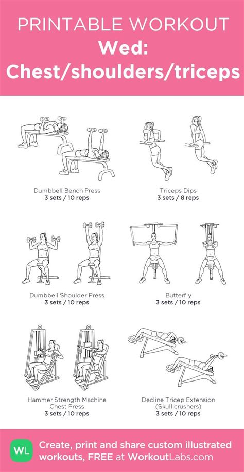 wed chest shoulders triceps my custom printable workout by workoutlabs workoutlabs