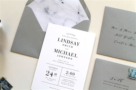 Unique Modern Wedding Invitations by Modern Marble Wedding Invitations Two