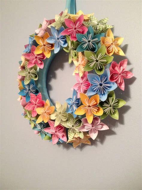 Origami Wreath - origami paper flower wreath 12 quot wedding birthday table