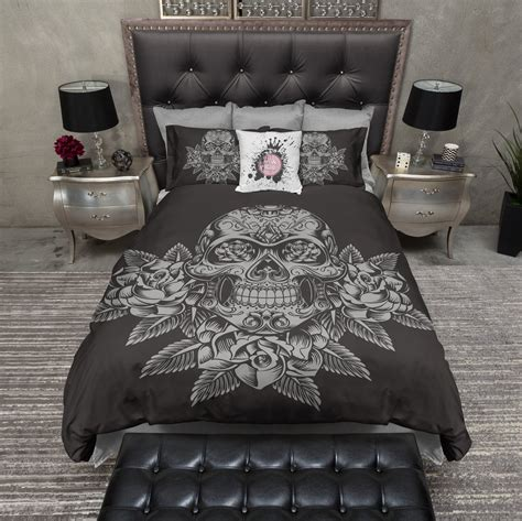 Clarin House White Bedcover Set King Size grey skull and roses on slate bedding ink and rags