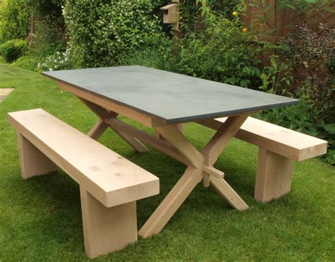 garden table and benches customers gallery of slate top tables
