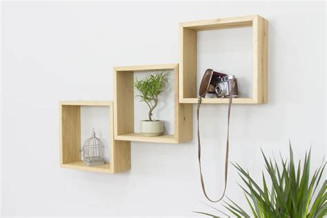 square shelves wall cube wall shelves set of three solid oak square shelves by