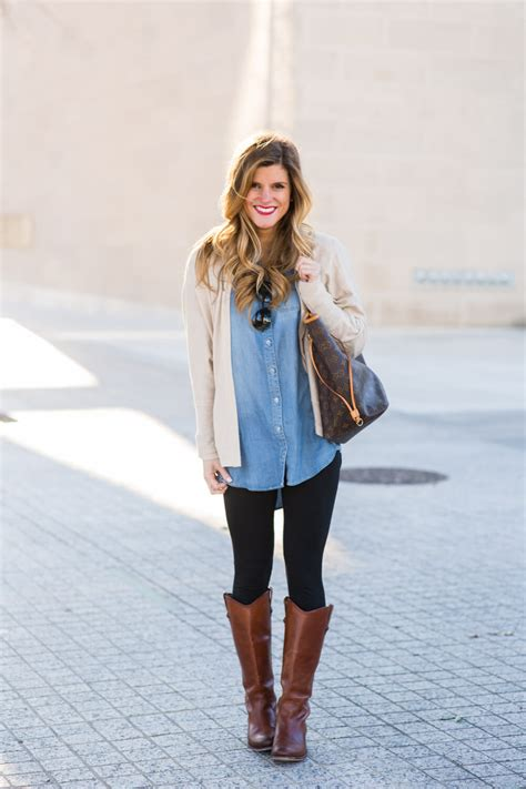 oversized chambray with and brown boots