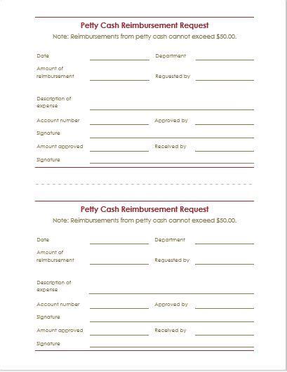 reimbursement form template expenses form template word