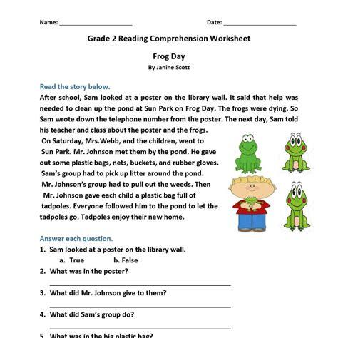reading comprehension worksheets 2nd grade pdf resultinfos