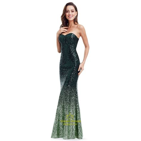 Sequined Prom Dress green strapless sequin embellished mermaid floor length