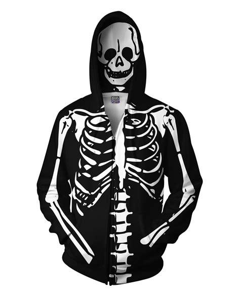 Hoodie Skeleton Zalfa Clothing skeleton all print hoodie