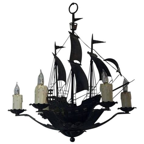 nautical chandelier nautical form wrought iron and tole chandelier at 1stdibs