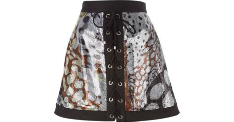 roberto cavalli sequin lace up a line skirt in multicolor