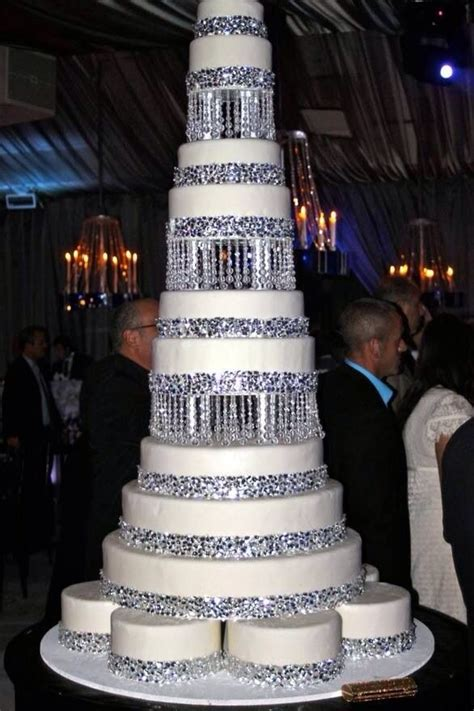 chandelier style cake with borders and hanging crystals wedding cake in 2019