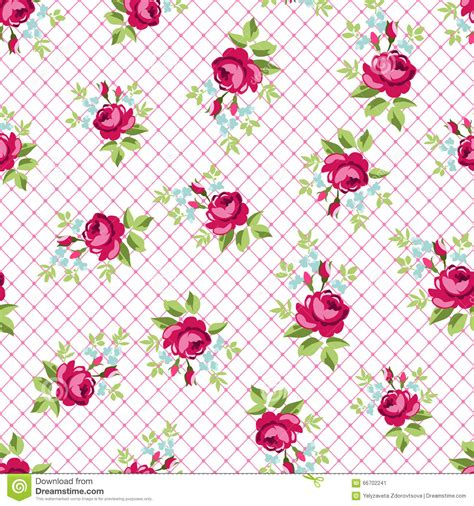 english rose pattern wallpaper seamless floral pattern with little red roses stock vector