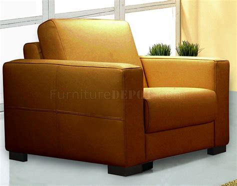 Tobacco Full Thick Leather Modern Sofa W Options