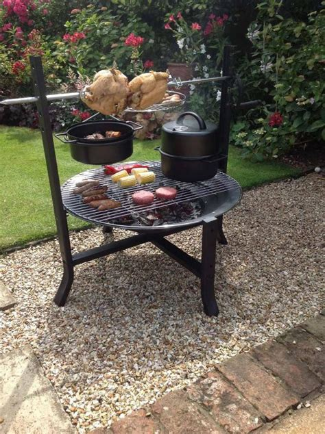 large firepit large firepit with rotisserie and bbq grill bowl with
