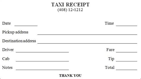 Taxi Receipt Templates Free 8 Sle Word Pdf Template Section Taxi Receipt Template