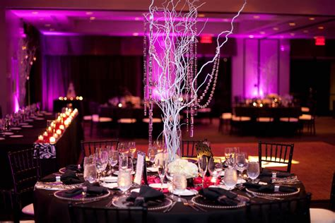 encore centerpieces silver tree branches with dangling crystals encore creative