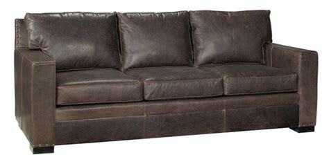 square arm leather sofa leather pillow back couch with square arms and nail trim