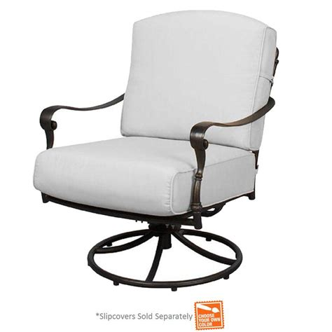 slipcovers for swivel chairs hton bay edington patio swivel rocker lounge chair with