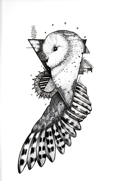 Barn Swallow Tattoo Designs White Flying Owl In Triangle Frame Tattoo Design By