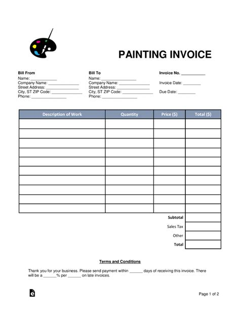 painting receipts template free painting invoice template word pdf eforms
