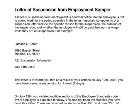 Service Suspension Letter Letter Of Suspension