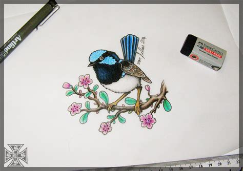 blue wren tattoo designs superb blue wren design by vonschloss on