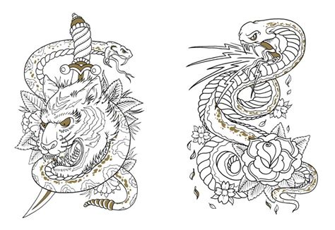 neo traditional tattoo coloring coloring pages